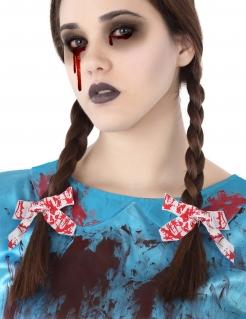Schleifen-Haargummis blutig Halloween-Accessoire 2 Stück weiss-rot
