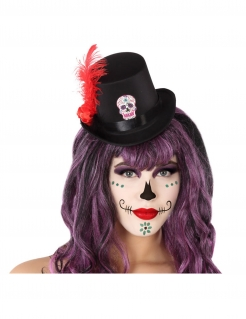 Mini-Hut Tag der Toten Halloween-Accessoire schwarz-rot