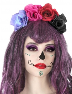 Blumen-Haarreif für Erwachsene Tag der Toten bunt