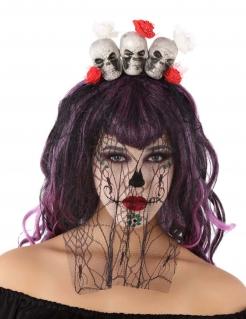 Tag der Toten Haarreif mit Totenschädeln und Schleier schwarz-weiss