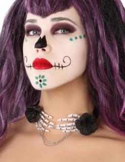 Skeletthand-Kette Tag der Toten Halloween-Accessoire schwarz-weiss