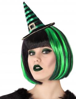 Mini-Hexenhut für Damen Halloween-Accessoire schwarz-grün
