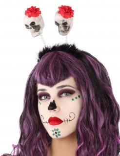 Totenkopf-Haarreif Halloween-Accessoire weiss-schwarz-rot