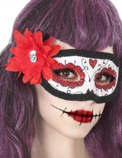 Día de los Muertos-Augenmaske für Damen Tag der Toten weiss-schwarz-rot