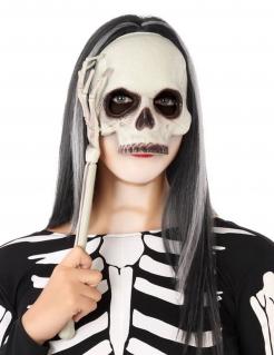 Skelett-Maske am Stiel Halloween-Maske weiss-schwarz