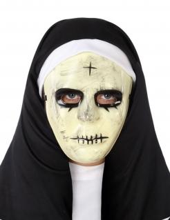 Nonnen-Maske Halloween-Maske weiss-schwarz