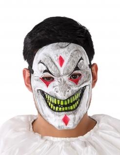 Horrorclown-Maske Halloween-Maske weiss-gelb-rot
