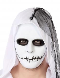 Halloween-Maske zugenähter Mund weiss-schwarz