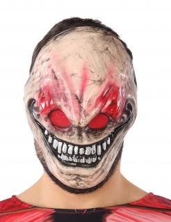 Schreckliche Horror-Maske Kreatur Halloween-Maske beige-rot