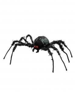 Riesige Halloween-Spinne schwarz Halloween-Figur 43 x 46 cm