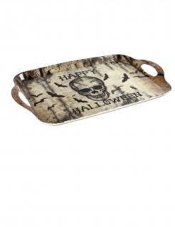 Halloween-Tablett Totenkopf Deko beige-schwarz 43x28 cm