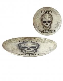 Halloween-Teller gross Totenkopf Deko beige-schwarz 34 cm