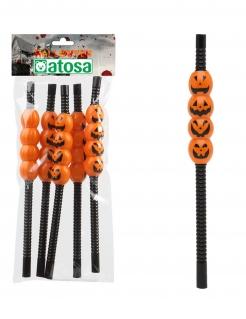 Kürbis-Strohhalme Halloween-Tischdeko Trinkhalme 5 Stück schwarz-orange 22cm