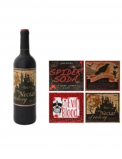 Flaschen-Etiketten für Halloween 4 Stück braun-rot