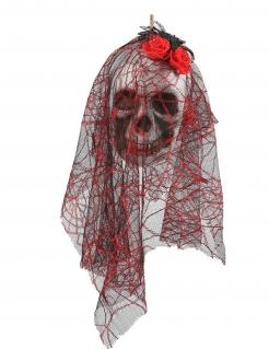 Skelett-Braut-Schädel zum Aufhängen Halloween-Dekoration weiss-schwarz-rot 15x30cm