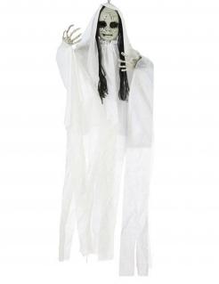 Horrorpuppe mit leuchtenden Augen Halloween-Dekofigur zum Aufhängen weiss 100 x 70 cm