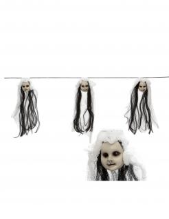 Puppenkopf-Girlande Halloween-Deko schwarz-weiss 153 cm