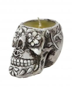 Sugar Skull Kerze Tag der Toten Deko weiss-grau 6 cm