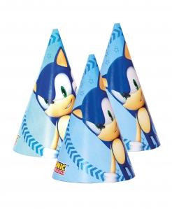Sonic™-Partyhüte Partydeko 6 Stück blau