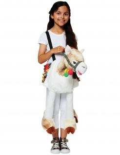 Lama-Kostüm für Kinder Huckepack-Kostüm Carry Me weiss