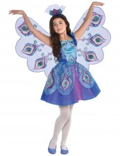 Pfau-Kostüm für Mädchen Kinderkostüm für Fasching blau-lila