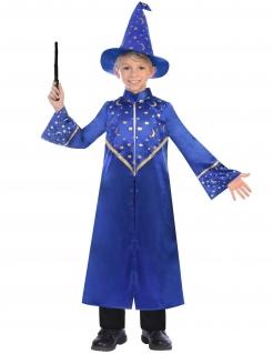 Zauberer-Kostüm für Kinder Magier-Kostüm blau-gold