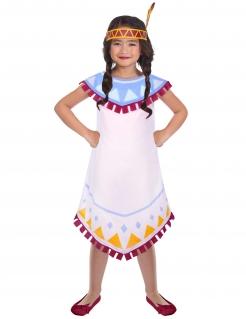 Indianer-Kostüm für Mädchen Karnevalskostüm weiss-bunt