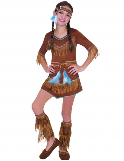 Indianer-Kostüm für Mädchen Karnevalskostüm braun-blau