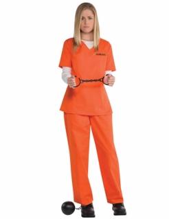 Sträfling-Kostüm für Damen Faschingskostüm orange