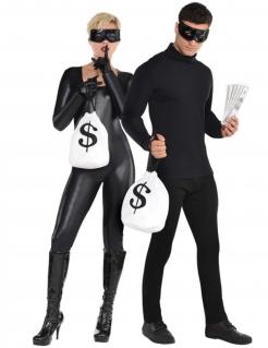 Bankräuber-Accessoire-Set Kostümzubehör 3-teilig schwarz-weiss