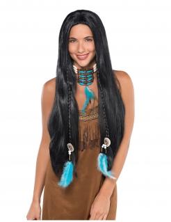Extralange Indianer-Perücke für Damen mit Federschmuck schwarz