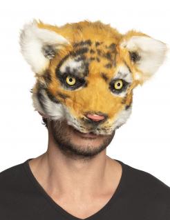 Tiger-Maske mit Plüsch Tier-Maske orange-schwar-weiss