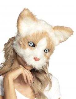 Katzen-Maske Plüsch Tier-Maske braun-weiss