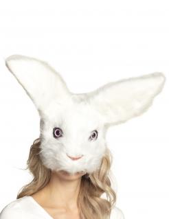 Hasen-Maske mit Plüsch Tier-Maske weiss