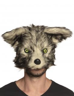Werwolf-Maske mit Plüsch Halloween-Maske grau-beige
