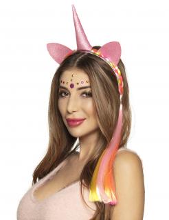 Einhorn-Haarreif mit Ohren, Horn und Zopf pink
