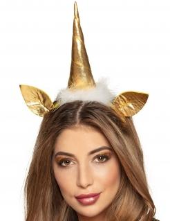 Einhorn-Haarreif für Erwachsene Einhorn-Haarschmuck gold-weiß