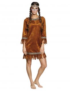 Klassisches Indianerin-Kostüm für Damen Karnevalskostüm braun
