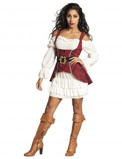 Barock-Piratin Damenkostüm Karnevalskostüm rot-weiss
