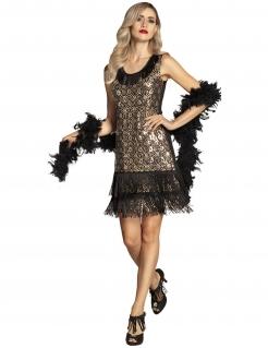 Charleston-Kleid mit Pfauen-Muster und Fransen 20er Outfit gold-schwarz