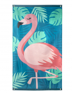 Flamingo-Flagge Tropical Partydeko blau-rosa 150x90 cm