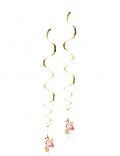 Flamingo-Hängedekos Partydeko 2 Stück rosa-gold 85 cm