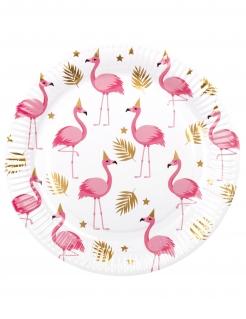 Flamingo-Pappteller 6 Stück weiß-goldfarben-rosa 23 cm