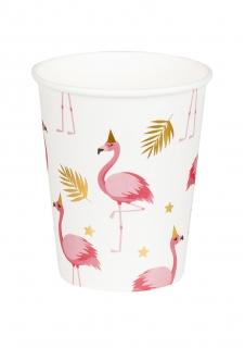Flamingo-Pappbecher Tropen-Deko 6 Stück 250 ml rosa-gold-weiß