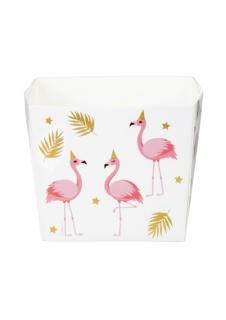 Flamingo-Snackboxen 6 Stück weiss-rosa-goldfarben 400 ml
