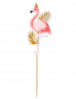 Flamingo-Piekser Partydeko 12 Stück rosa-gold 13 cm