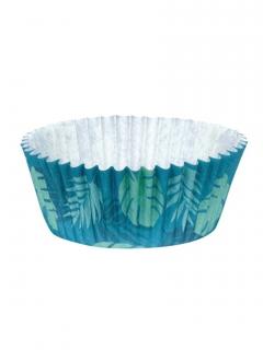 Hawaii-Cupcake-Förmchen 50 Stück blau-grün 6,5 cm