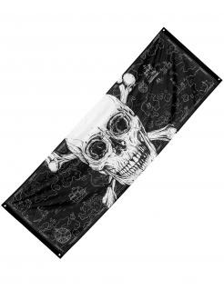 Riesiges Piraten-Banner Jolly Roger schwarz-weiß 220 x 74 cm