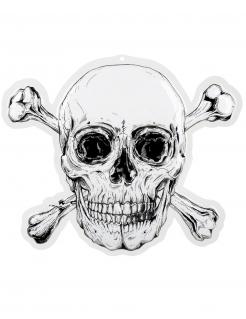 Jolly Roger-Wanddeko Piraten-Raumdeko schwarz-weiß 50 x 42 cm