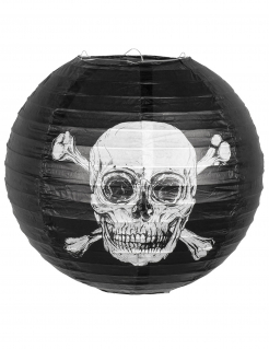 Piraten-Laterne Jolly Roger Partydeko Halloween schwarz-weiss 25 cm